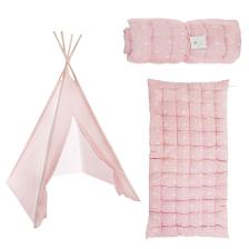 Tipi enfant avec tapis, tente rose fille 160cm avec matelas de sol 60x120cm