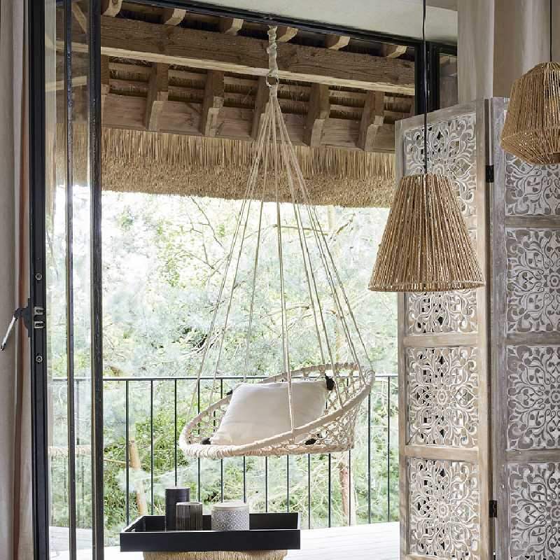 Hamac Rond en Coton Suspension 148cm Blanc Atmosphera