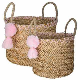 Lot de 2 paniers à pompons Ethnic Rose Atmosphera