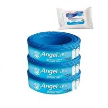 Angelcare Recharges Rondes lot de 3 recharges Classique + 30 Lingettes Milton antibactériennes OFFERTES !!