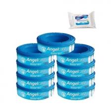 Angelcare Recharges Rondes lot de 9 recharges Classique + 30 Lingettes Milton antibactériennes OFFERTES !!