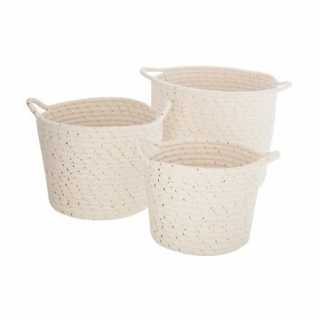 Lot de 3 Paniers de Rangement Lurex en coton Atmosphera