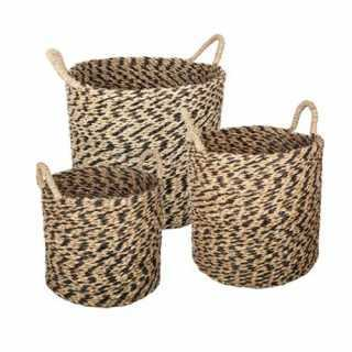 Lot de 3 paniers ronds seagrass ethnik Atmosphera