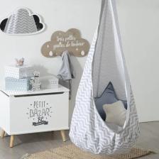 Coffre Rangement Enfant Petit Bazar Atmosphera Gris et Blanc