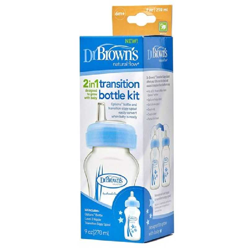 Biberon transition vers gobelet bleu 270ml Dr Brown's