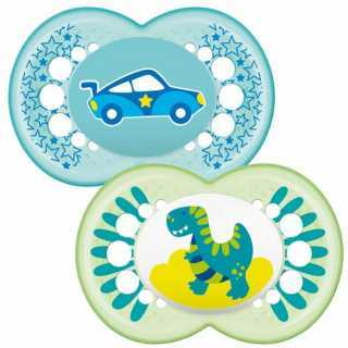 Lot de 2 sucettes phosphorescents Dino / Voiture 12m+ Mam
