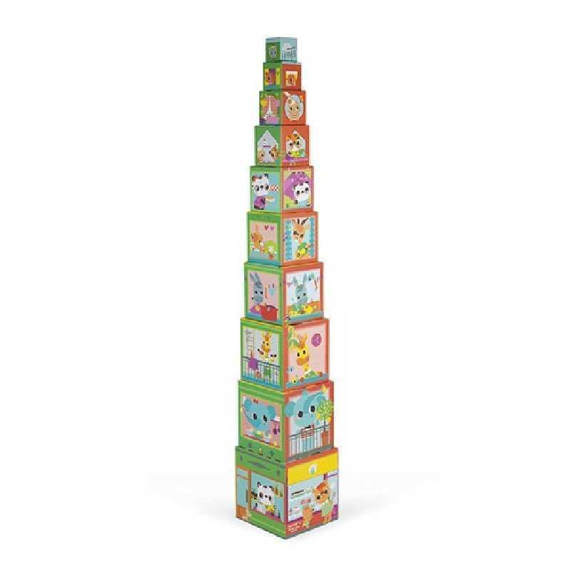 Pyramide Carrée de 10 cubes animaux Janod