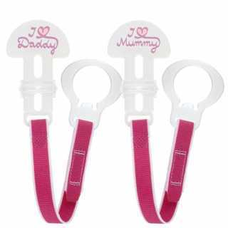 Attache-sucette clip Lot de 2 Rose Mam