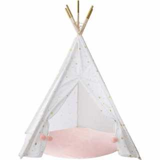 Tipi blanc doré et un tapis rose Atmosphera for kids