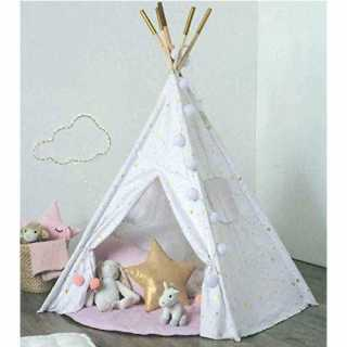 Tipi blanc et doré avec son tapis rose Atmosphera for kids