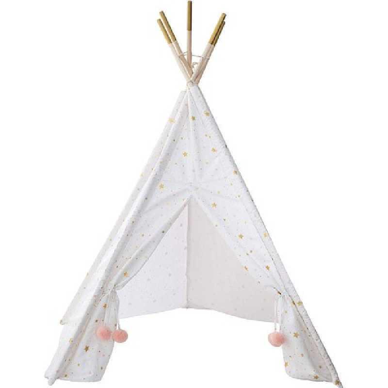 Tipi blanc doré et un tapis rose Atmosphera for kids