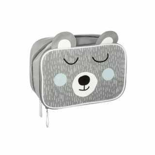 Trousse de rangement 2 compartiments Ours Gris Atmosphera for kids