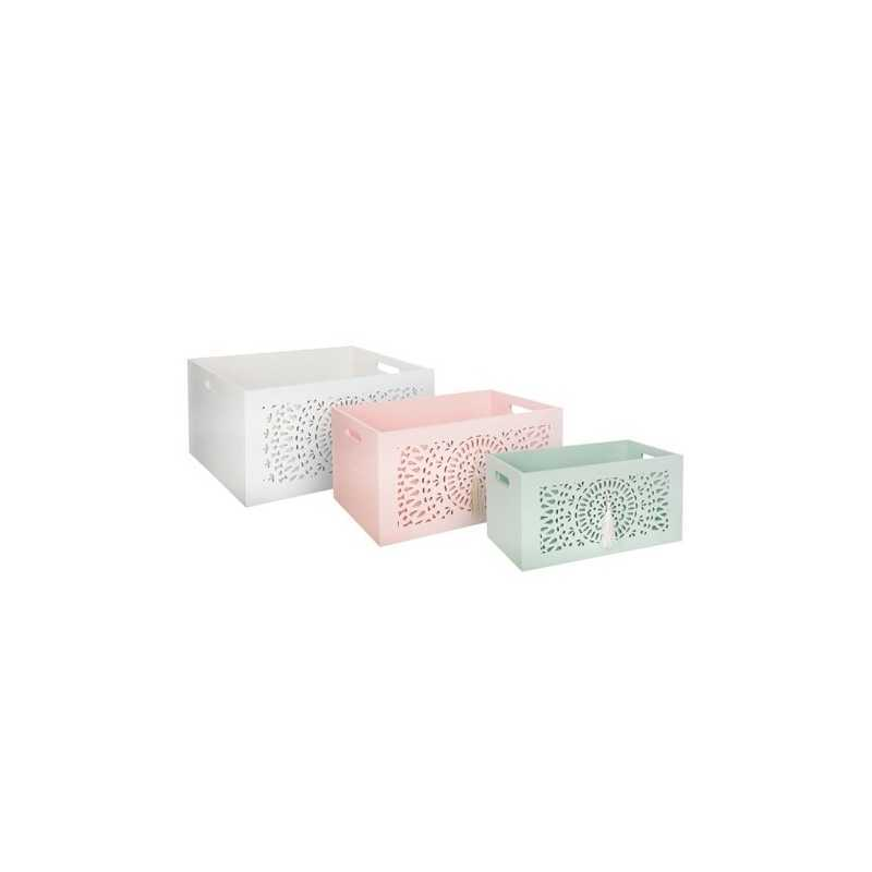 Lot de 3 cagettes à pompons Ethnic Pastel Atmosphera