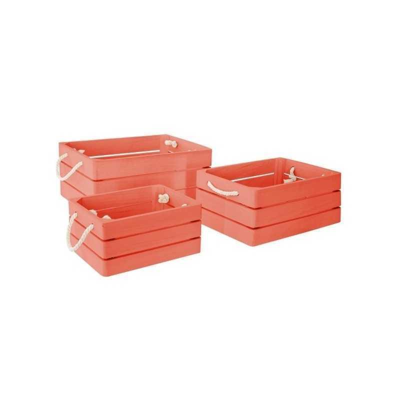 Lot de 3 caisse cagettes Dream Rouge corail Atmosphera for kids