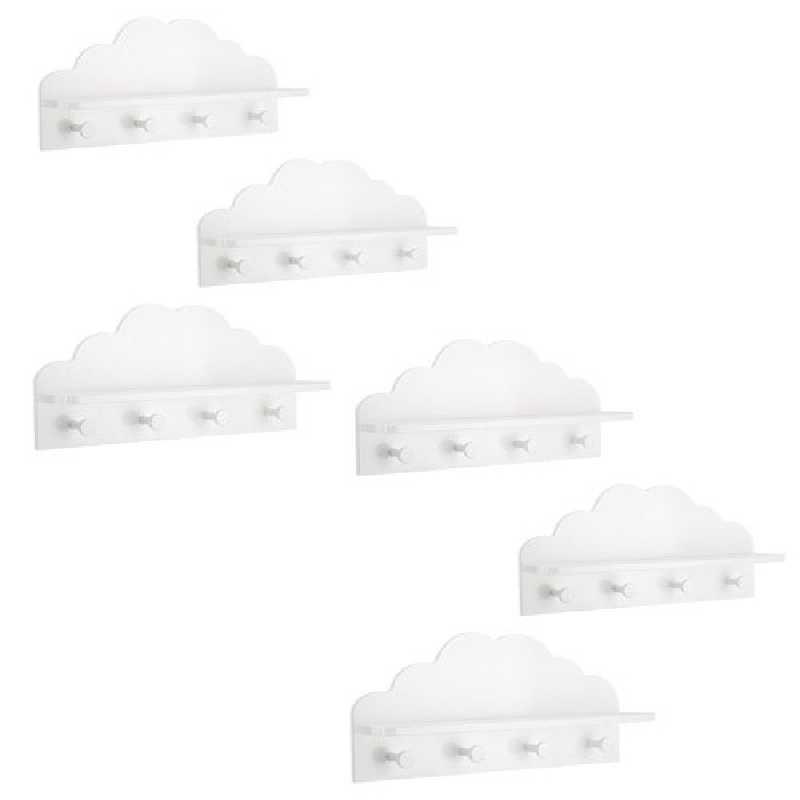 Lot de 6 patères étagères Nuage pour Enfant Coloris Blanc