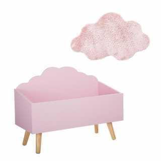Coffre à Jouets Nuage Rose + Tapis de Chambre Nuage Rose