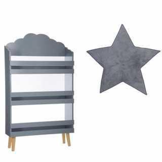 Bibliothèque enfant nuage Gris + Tapis de chambre étoile Gris