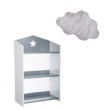 Bibliothèque enfant étoile Gris + Tapis de chambre nuage Gris