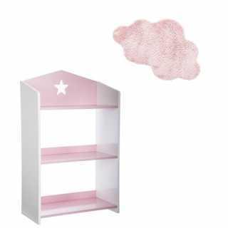 Bibliothèque enfant étoile Rose + Tapis de chambre nuage Rose