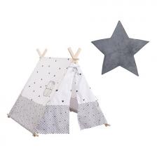 Tente enfant tipi Gris + Tapis de chambre étoile Gris