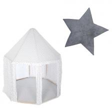 Tente enfant yourte Gris + Tapis de chambre étoile Gris