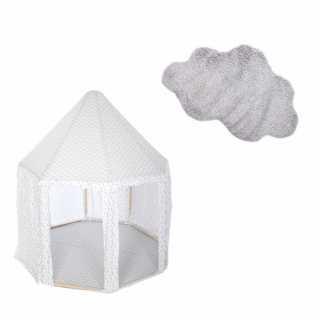 Tente enfant yourte Gris + Tapis de chambre nuage Gris