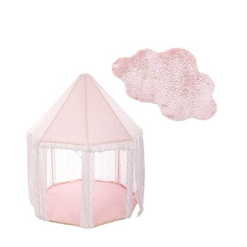 Tente enfant yourte Rose + Tapis de chambre nuage Rose