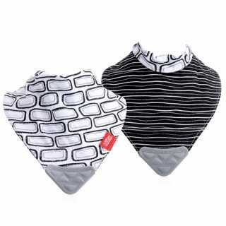 Lot de 2 bavoirs bandanas Gris avec anneau