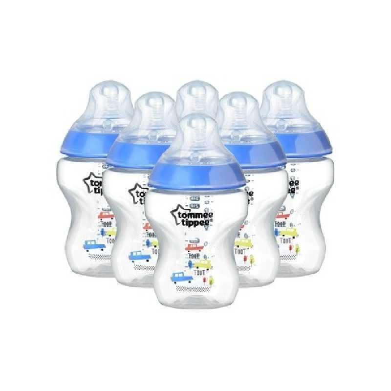 Lot de 6 biberons 260ml Bleu