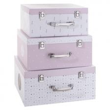Set de 3 boîtes de rangements en carton Rose