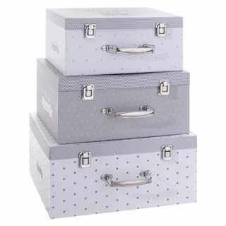 Set de 3 boîtes de rangements en carton Gris