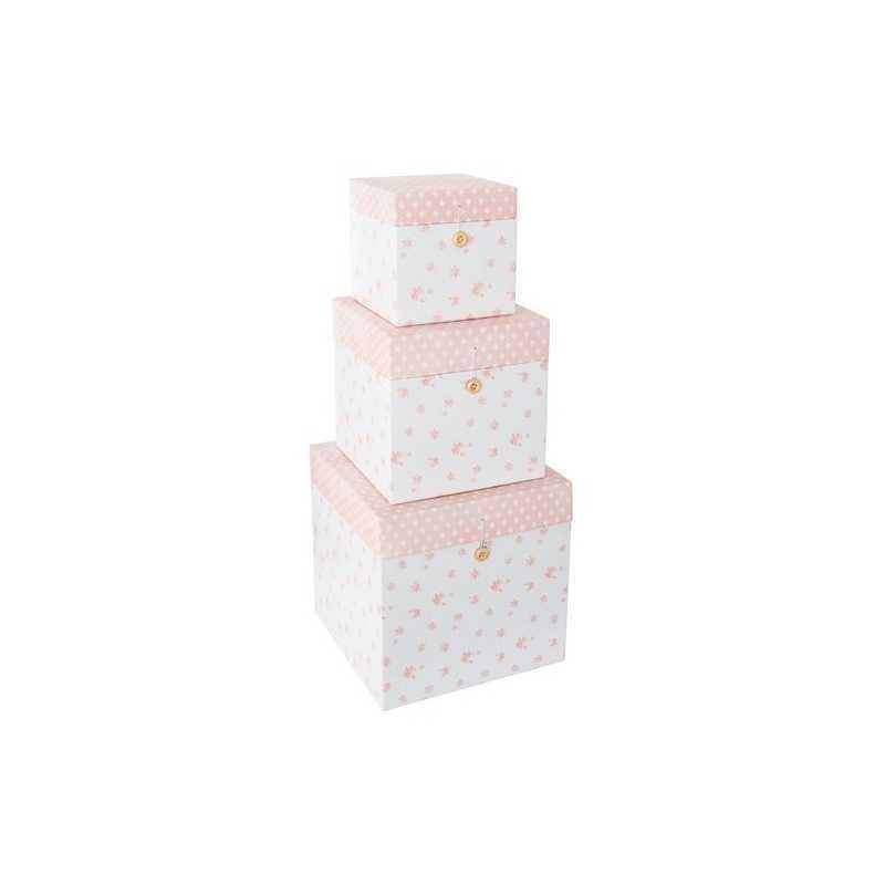 Lot de 3 boîtes décoratives carrées en carton Rose