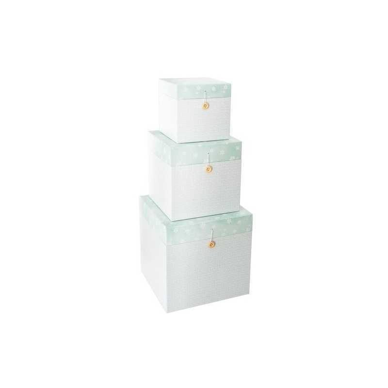 Lot de 3 boîtes décoratives carrées en carton Vert