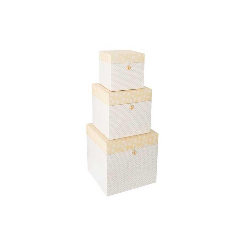 Lot de 3 boîtes décoratives carrées en carton Jaune