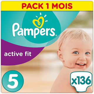 Pampers - Active Fit - Couches Taille 5 (11-23 kg/Junior) - Pack Economique 1 Mois de Consommation (x136 Couches)