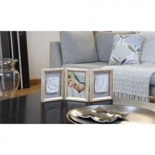 Cadre photo avec 2 empreintes en bois