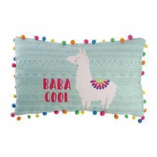 Coussin décoratif Lama avec pompons Bleu