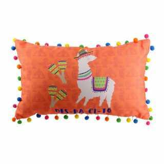 Coussin décoratif Lama avec pompons Orange
