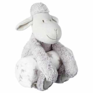 Plaid bébé avec peluche Mouton Gris