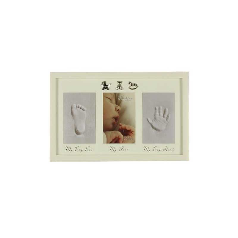 Cadre photo bébé avec 2 empreintes