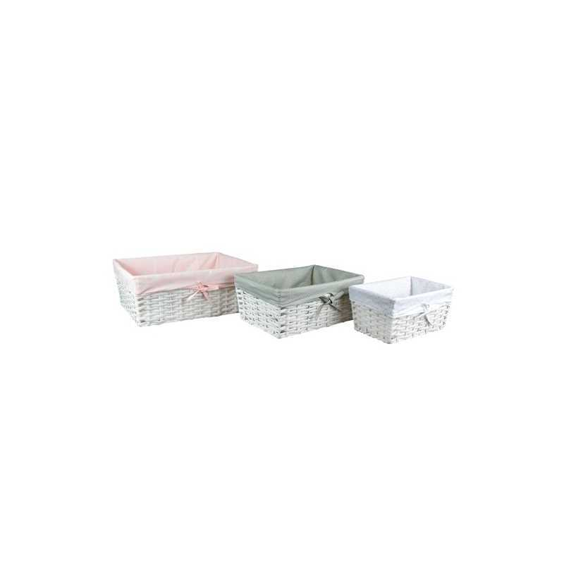 Lot de 3 paniers tresses rectangulaires en osier Rose Vert Blanc