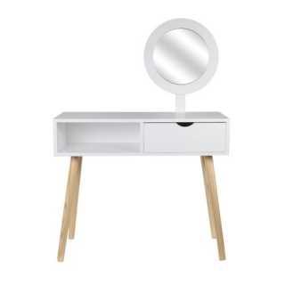 Coiffeuse Blanche Aurore avec miroir et tiroir