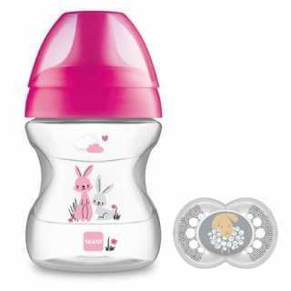 Tasse d'apprentissage 190ml Learn to Drink Rose + sucette Mam