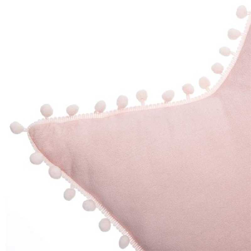 Coussin décoratif étoile avec pompons Rose