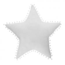 Coussin décoratif étoile avec pompons Blanc