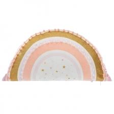 Coussin décoratif arc en ciel pompons