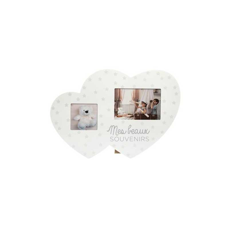 Pêle mêle coeur double Blanc