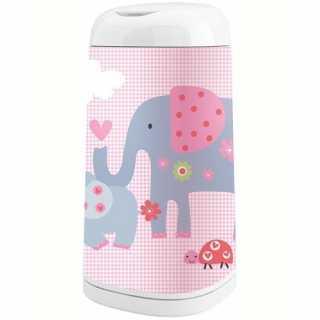 Housse décorative pour poubelle à couches Dress Up Eléphant Vichy Rose