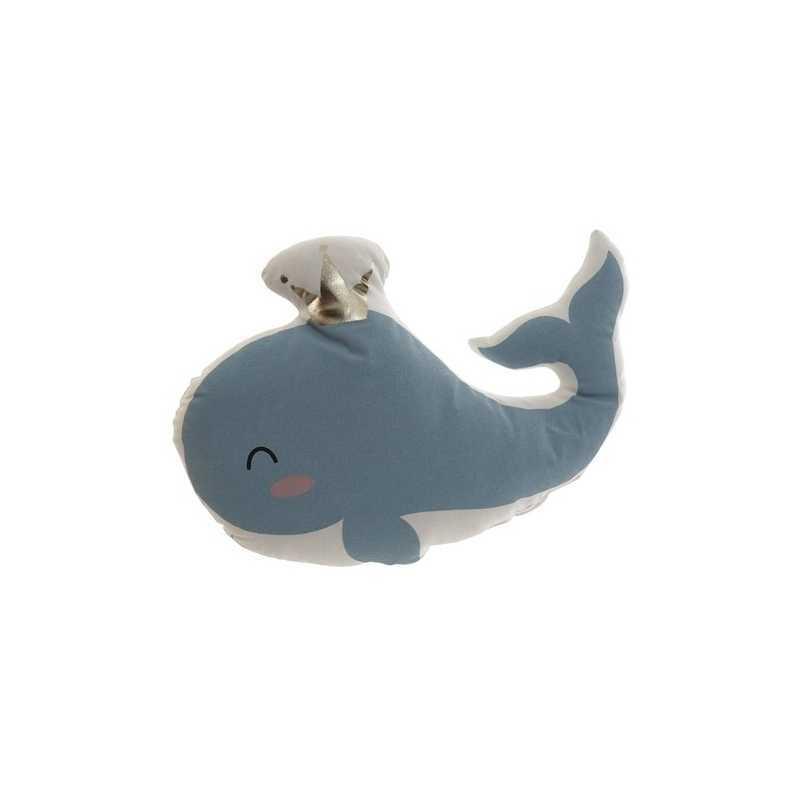 Coussin décoratif enfant Baleine Bleu