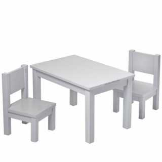 Set Table Hevea Grise + 2 chaises Hevea Grises
